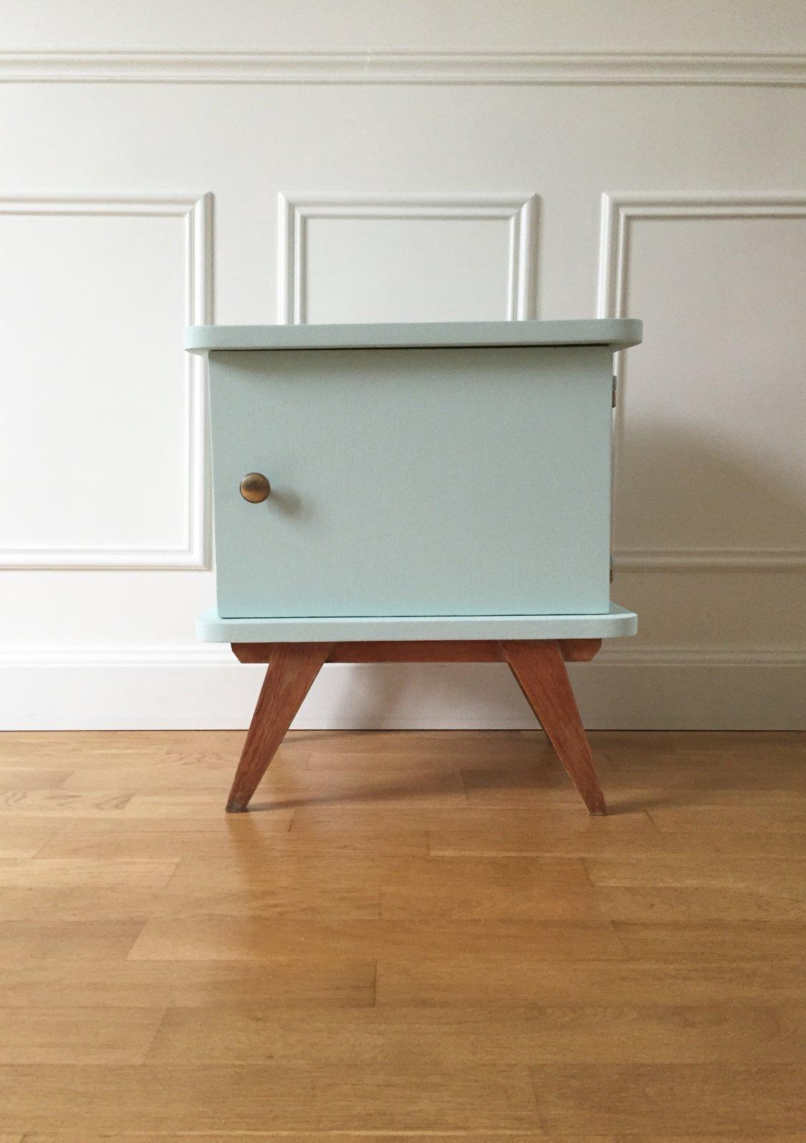 chevet pieds compas ann es 50 vaillant le petit meuble. Black Bedroom Furniture Sets. Home Design Ideas
