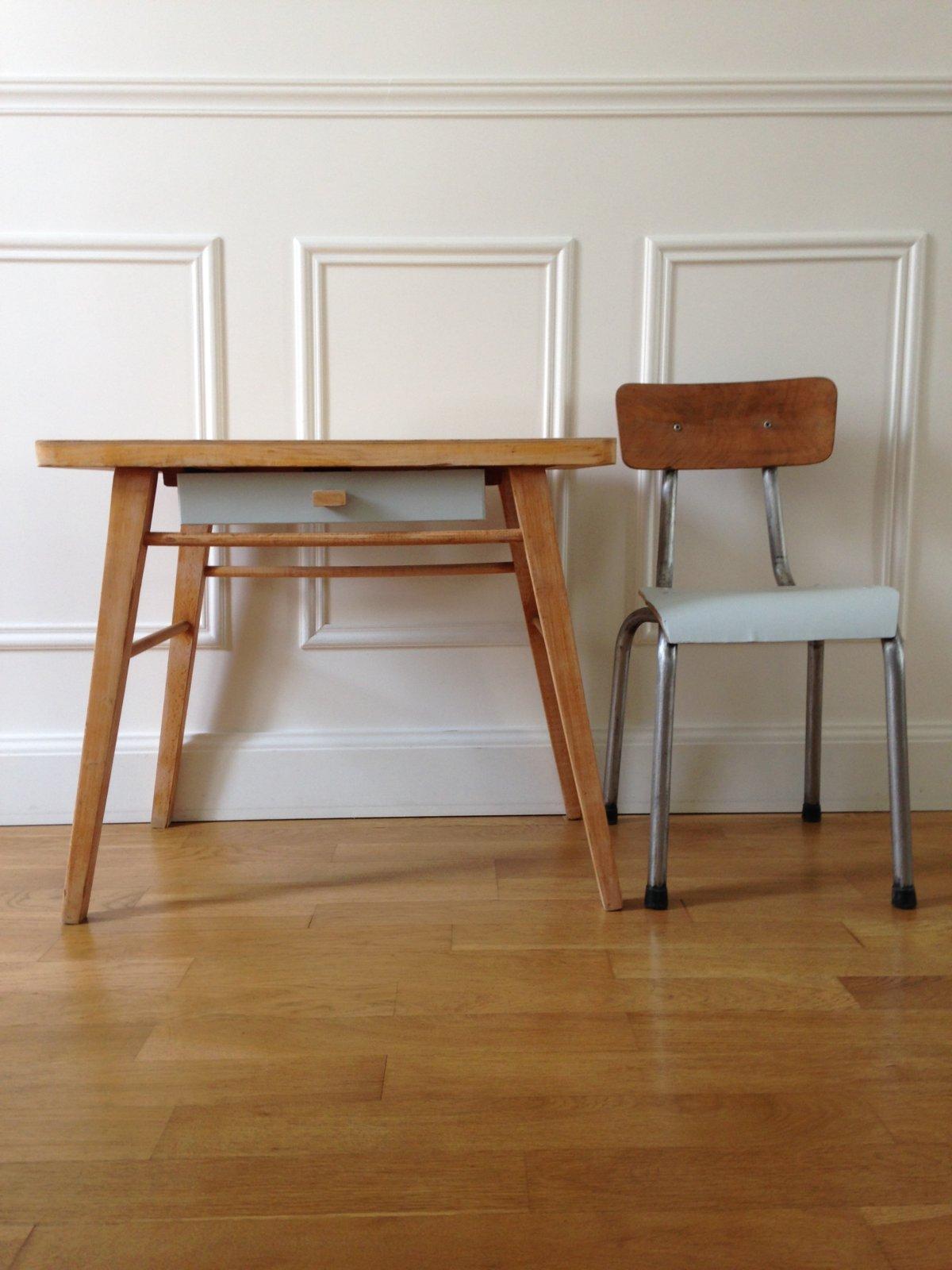 bureau baumann pieds compas et sa petite chaise vaillant le petit meuble. Black Bedroom Furniture Sets. Home Design Ideas